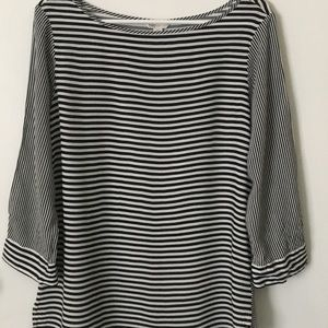Cato Black Tan Striped Lightweight Blouse